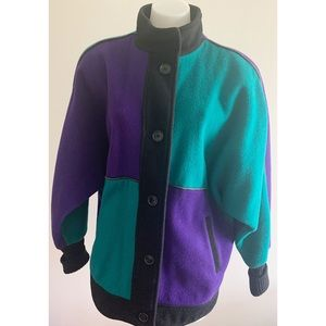 Purple /Green Pea Coat Size Large